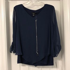 Navy Blouse with Necklace
